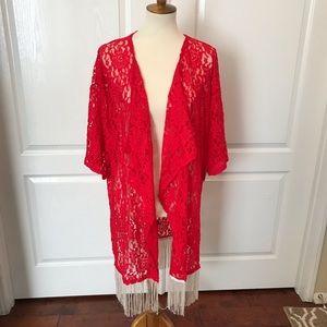 Lularoe Monroe red lace fringe tunic